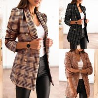 Women's Jackets Autumn And Winter Fashion Spring Printed Button Suit Collar Long-sleeved Double-breasted Jacket