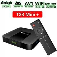 TX3 mini plus Android 11 TV Box Amlogic S905W2 2GB 16GB Support H.265 AV1 5G Dual Wifi BT5.2 HDR10+ Media Player Set TopBox