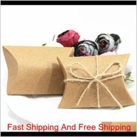 Wrap Event Festive Supplies Home Garden Fashion Cute Kraft Pillow Favor Wedding Party Favour Candy Boxes Paper Gift Box Bags Supply Lx
