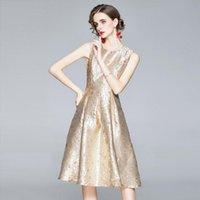 여성 봄 럭셔리 자카드 드레스 고품질 빈티지 A 라인 칵테일 파티 로브 Femme 디자이너 탱크 Vestidos 캐주얼 드레스