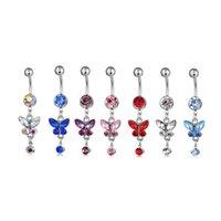 D0347 (6 färger) mixa färger mage knapp navel ringar kropp piercing smycken dangle tillbehör mode charm fjäril 20st / mycket