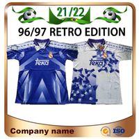 96/97 rétro édition Real Madrid Soccer Jerseys 1996 1997 # 7 Raul # 9 Zamorano # 6 Redondo Chemise de football homme Maillots de pied uniforme