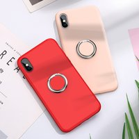 Liquid Silicone Ring Stand Magnetic Case For iPhone 12 11 Pro Max XR XS 8 7 Samsung S10 Plus S10e A10 A20 A30 A40 A50 A60 A70 A20E M20 M30