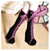 Wholesale- 2015 New Ladies Punk Rock Goth Women High Platform Wedge Heels Faux Suede Lace Up Fahsion Knee High Boots Creepers Shoes