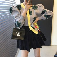 Fashion Floral Print Carigan Women Korean Long Sleeve Kintted Sweater Carigans Woman Autumn Winter Tops 2021 New Arrival