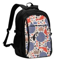 Backpack USB Charge Women Fishes And Lotus Leaves In The Pond Student Letters Print School Bag Teenager Girls