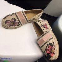 Y123 Últimas zapatillas de deporte de las mujeres zapatos zapatos zapatillas de cáñamo de cáñamo diseño de diseño de alta calidad moda casual apagado floral bordado resbalón en loafer transpirable