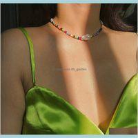 Femmes Mode Collier Charme Perles Colorées Perles Irregular Pendentif Colliers Bohemian Beach Chain Boho Bijoux Cadeaux Accessoires L4 RNAZI