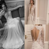 Ester Haute Couture 2019 Robes de mariée à manches longues à manches longues Vol d'illusion dentelle robe de mariée robe de mariée robe de mariée sans dos