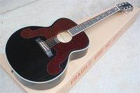 جودة عالية الصلبة تنوير أعلى 43 بوصة SJ200 الأسود الغيتار الصوتية نجمة الحطب البطانة روزوود الأصابع الماهوجني الرقبة القيقب الظهر الجانب الجملة الأحمر pickguard