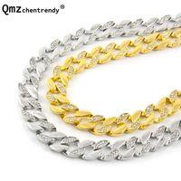 Hip Hop 30 '' Eile ausweichende halbe Strasskette Halsketten 15mm Miami Cuban Link CZ Mens Cubra Halskette Ketten