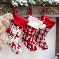 Classic Christmas ornaments knitted Xmas stockings woolen socks red white elk gifts bag children gift bags T2I52984