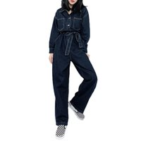 Women's Jumpsuits & Rompers New Spring and Autumn Women Casual Loose Denim Retro Tooling Overalls Straight Pants Long NS2512 PY5K