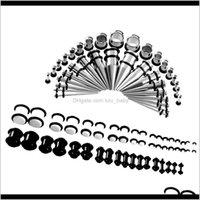 Outro corpo entrega de jóias entrega 2021 72 pcs Acrílico plugues de aço inoxidável 14g-00g orelha alongamento piercing kits jzrho