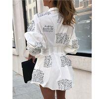 Colección Blusas Vestido Mujer Mini Botón Largo Botón V-Cuello Tres Quart Mouw Taille MEIHUIDA Herfst