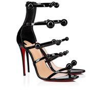 Kvinnor Skor Lyxdesigner Varumärke Beading Sandaler Sommar Sofistikerat Mode Open Toes Patent Läder Högklackad Botten Atonana 100mm