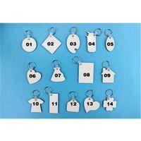 승화를위한 빈 키 체인 MDF 하트 라운드 사랑 열쇠 고리 Iewelry 열 전사 인쇄 DIY 빈 재료 소모품