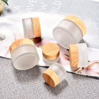 Premium Frosted Glass Cosmetics Packaging Cream Bottle 5ml 10ml 15ml 30ml 50ml 100ml Cosmetic Jars with Wood Grain Cap -Hidden Pearl