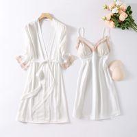 Bride Wedding Robe Gown Sets Sexy Womens 2PCS Lace Nighty Bathrobe Nightgown Sleep Suit Summer Satin Sleepwear Intimate Lingerie