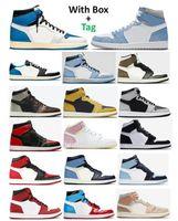 1 TS X frammento iper reale università blu basket scarpe da basket uomo 1s Bred Bred Brevent Dark Mocha Shadow 2.0 Polline Patina Patina Drip Brod Toe Chicago Twist Sneakers ossidiani