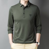 Polos dos homens outono negócio urbano polo camisa de alta qualidade marca slim manga longa polo top macho 7zmy