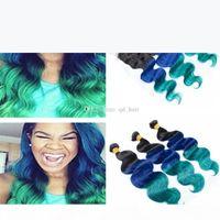 أومبير 1B الأزرق الأخضر لحمة الشعر التمديد مع الأذن إلى الأذن أمامي ثلاثة لهجة عذراء جسم الإنسان موجة الشعر 3 حزم مع الدانتيل أمامي