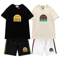Casual traje para hombre chándal de moda de verano ropa deportiva de la tripulación con cuello corto de la tripulación camiseta + pantalones cortos 2 opciones de color de alta calidad