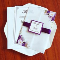 Purple Flower Translucent Wedding Party Invitation with Tag and Ribbon Envelope DIY Vellum Quinceanera Cards Anniversary Invites
