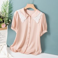 100% Silk Women's Shirt Turn Down Collar Short Sleeves Emboridery Lace Patchwork Fashion Summer Blouse Tops