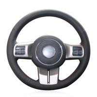 DIY 사용자 정의 블랙 인공 가죽 조향 휠 커버 지프 그랜드 Cherokee 2011-2013 Compass Wrangler Patrot 2011-2016