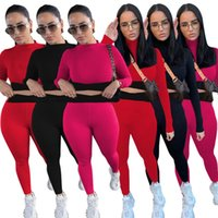 Designer Women Cotton Tracksuits Yoga Fitness Sportswear Slim Outfits Jogging Suits Long Sleeve Crop Tops Leggings Spring Fall Cycling Clothing Sweatsuits 5644