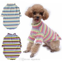 Dog Apparel Dogs Shirts Cute Rainbow Striped Doggi T-Shirts Stretchy Puppy Short Sleeve T Shirt Pup Clothes for Small Doggy Teddy Bichon Pomeranian Pink S A114