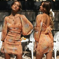 Casual Dresses Plus Size Bohemian Backless Sexy Bodycon Long Sleeve Mini For Women 2021 Chiffon Dress