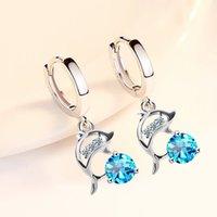 925 sterling silver new women's fashion jewelry earrings blue crystal pink zircon dolphin long tassel retro earrings 1199 T2