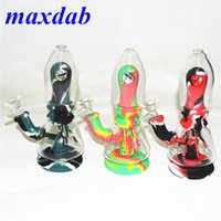 Glow in the dark Silicone Bongs Hookah oil rig Smoking Water pipe Bong bubble 7.8 inch Straight tobacco hand Pipes With Glass Bowl