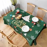 크리스마스 인쇄 테이블 옷감 크리스마스 식탁보 면화 린넨 노르딕 현대 방수 오일 증거 가정 식사 테이블 천