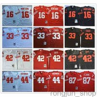 NCAA Vintage Retro # 16 Joe Montana Camicia 33 Roger Craig 44 Tom Rathman 87 Dwight Clark 42 Ronnie Lott Stitched Football Jerseys