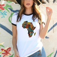Women's T-Shirt Africa Map Print Women Harajuku African Style Top Letter Printed White Fashion Clothing