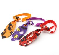 Halloween Pet Tie Dog Apparel Fashion Print Pumpkin Skull Dogs Bow Ties Party Decoration Supplies 8 Styles