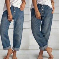 Frauen Jeans 2021 Hohe Taille Mom Wide Bein Hosen Retro Blau gerade Große Arbeit Kleidung Freund Freund