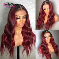 Lace Wigs 250 Density Body Wave Front Human Hair For Women Pre Plucked Brazilian Remy Ombre Burgundy 99J Colored Wig