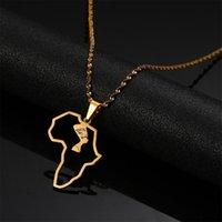 Карта из нержавеющей стали Африка Карта Ожерелье Африканский Египетский Королева Нефертити Ожерелье Ювелирные Изделия Ожерелья