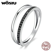 Cluster Rings WOSTU Fashion 100% 925 Sterling Silver Double Circle Black Clear CZ Stackable Finger Ring For Women Luxury Jewelry FIR082