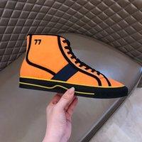 Gucci shoes  Zapatillas de deporte de tenis altas Zapatillas de moda Tricolor negro Blanco Naranja Naranja Plataforma de hombre Malla Talla casual 35-45