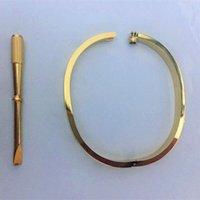 Braccialetti in acciaio in acciaio Bangle Braccialetti d'oro argento oro rosa bracciali da uomo donna cacciavite cacciavite braccialetto braccialetto coppia gioielli dimensioni 16-21