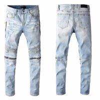 Mens Jeans Skinny Dégrette déchirée Détruit Denim Denim Blanc Blanc Blanc Bleu Fit Fit Hip Hop Pantalon Biker Denim pour hommes Top Qualité