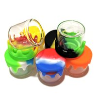 Glass Containers 6ml mini Jar Bottle with silicone cover lid non-stick wax container storage jars colorful acessories