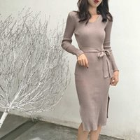 Autumn and winter 2021 Casual Dresses Chic Solid Slim Mid-length Pink long Sleeve V-neck Lace-up Waist Knitted Dress Split Hips Elegant Fashion
