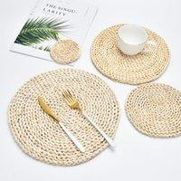 Placemat round tappetini in rattan tappetini naturale paglia di mais tappetino da pranzo a mano a mano resistente al calore caffè tazza tazza tazza tazza da cucina accessori da cucina