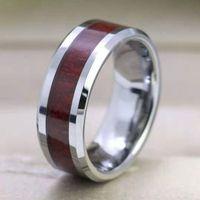 8mm tungsteno anillos de dedo durable vintage titanio acero inoxidable de madera anillo anillo joyería para hombres mujeres 316l acero inoxidable 111 m2